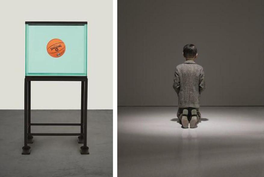 СЛЕВА НАПРАВО: Джефф Кунс, «Контейнер с мячом, находящимся в полном равновесии», 1985 год (оценка по запросу);  Маурицио Каттелан, «Он», 2001 год (оценка: $10-15 млн).