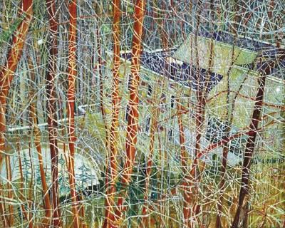 Питер Дойг. Дом архитектора в лощине. 1991. Холст, масло. Источник: christies.com