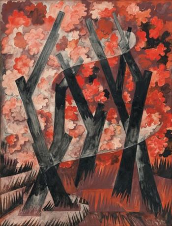 Наталия Гончарова. La Forêt Rouge. Акварель и гуашь по карандашному рисунку на бумаге. Частная коллекция. Источник: www.sothebys.com