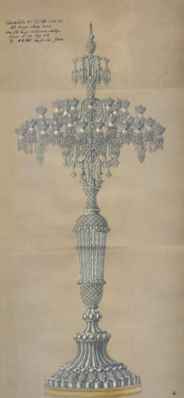 """Эскиз """"царских канделябров"""", 1878 год © Baccarat, archives de la manufacture"""