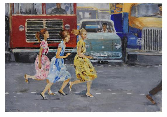 """Юрий Пименов. """"Бегом через улицу"""". 1963. Картон, масло. Курская государственная картинная галерея им. А.А.Дейнеки"""