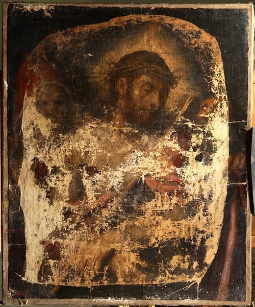 Се, человек (Ecce Homo) Тициана попала в московский музей из Эрмитажа в 1924 г. В 1927-м ее украли, неаккуратно вырезав из рамы. Нашли картину в 1931-м и с тех пор никогда не выставляли / The Pushkin State Museum of Fine Arts