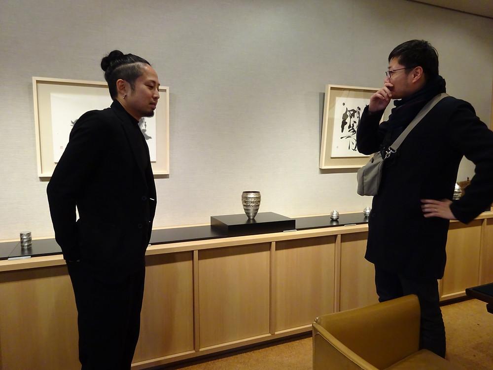 畠春斎(釜師)が佐故龍平氏(鍛金作家)の個展を見に行きました