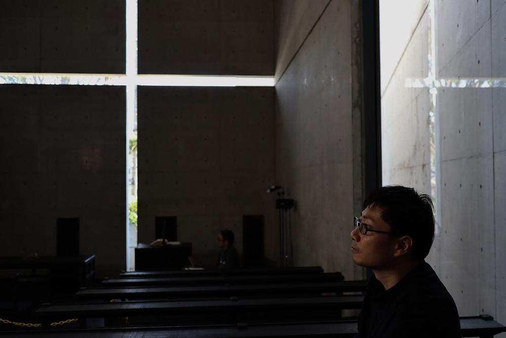 畠春斎(釜師)が光の教会を訪れました