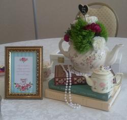 Teapot & book centerpiece