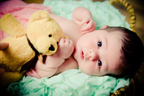 Newborn with Teddy Bear