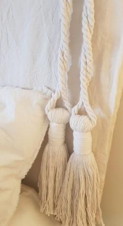 Alzapaños, soga en crudo y penacho puro algodón