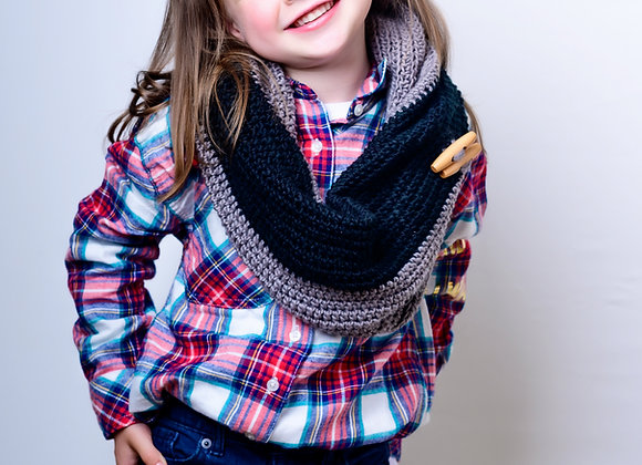 Kid's Black and Grey Infinity Scarf
