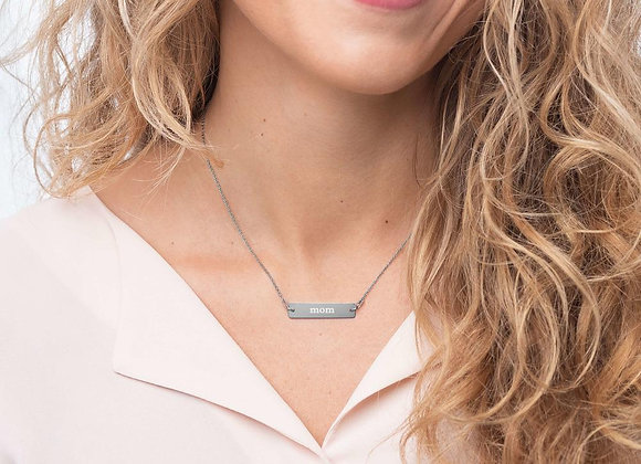 Mom Engraved Silver Bar Chain Necklace