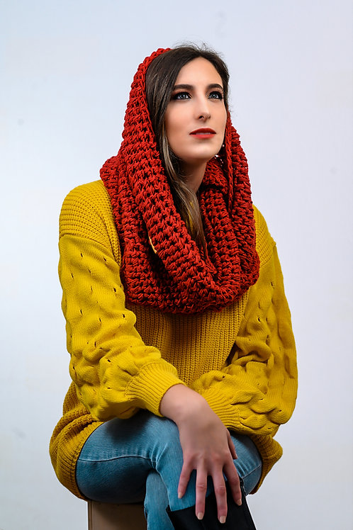 Oversize Red Infinity Scarf