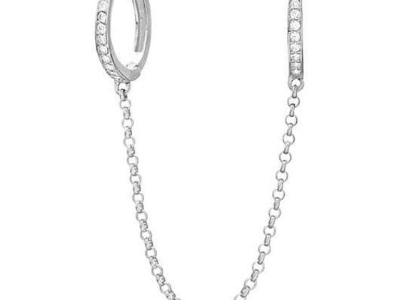 CZ Pave Double Handcuff Huggies Hoops