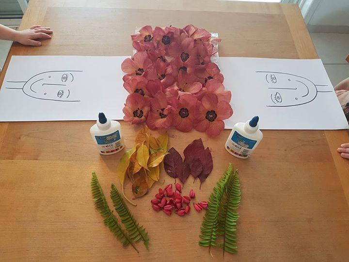 פעילות יצירה עם עלים ופרחים