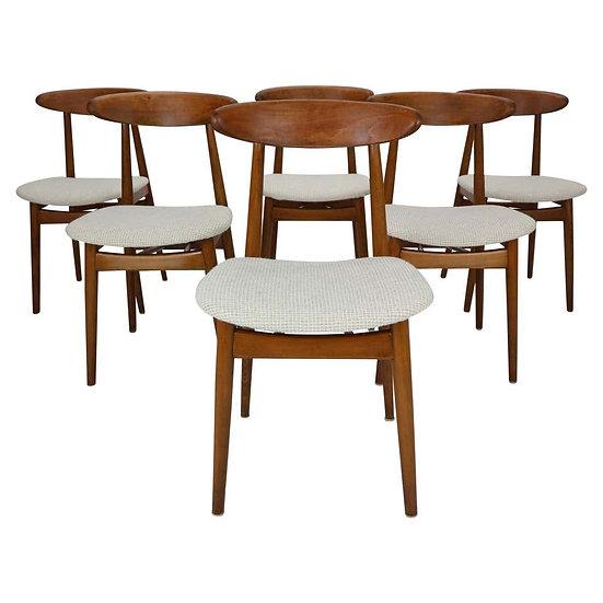 Scandinavian Modern Set of Six Danish Teak Dining Room Chairs, 1960s
