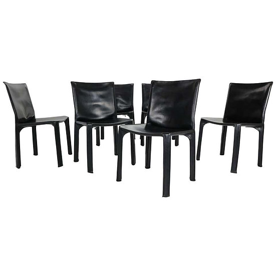"""Early Edition Mario Bellini """"Cab-412"""" Set of 6 Leather Chairs for Cassina, 1970"""