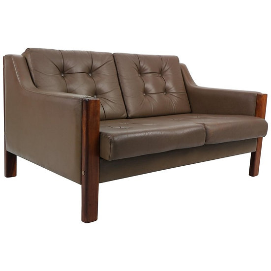 Scandinavian Mid Century Two Seater Leather Sofa & Rosewood, 1970's