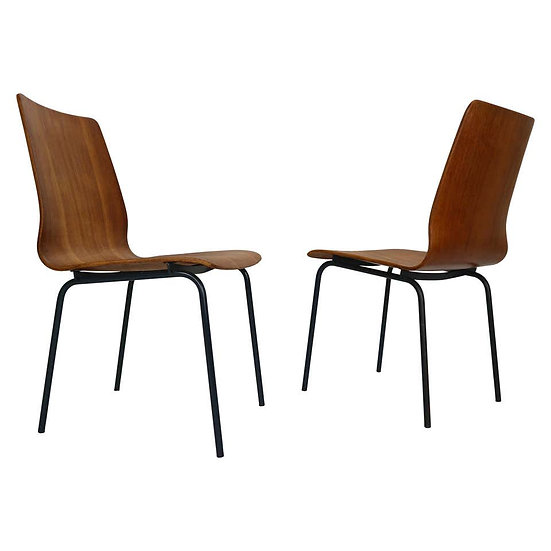 """Pair of Teak Dinning Room Chairs """"Euroika"""" by Fristo Kramer for Auping, 1950s"""