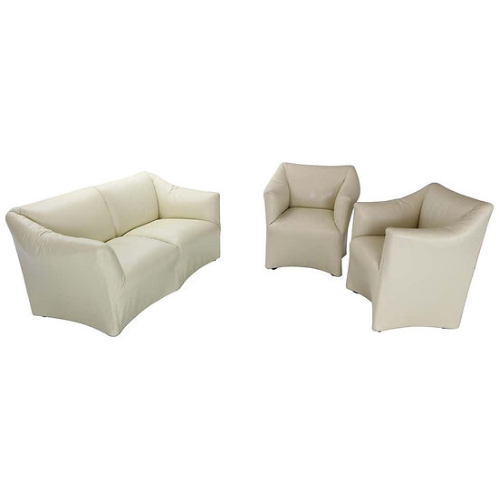 "Mario Bellini ""Tentazione"" Crème Leather Living Room Set for Cassina, 1970s"