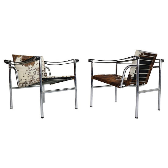 Set of 2 Pony Skin Armchairs Model, LC1 by Le Corbusier for Cassina, 1970s Italy
