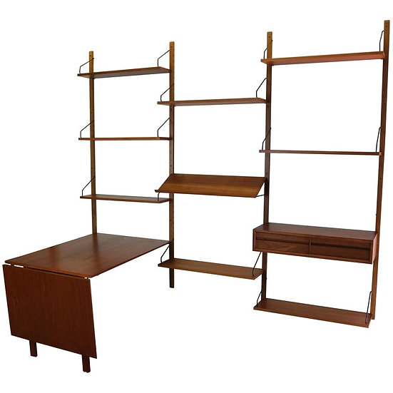 Danish Modern Teak Wall Unit or Home Office by Poul Cadovius for Cado, 1960