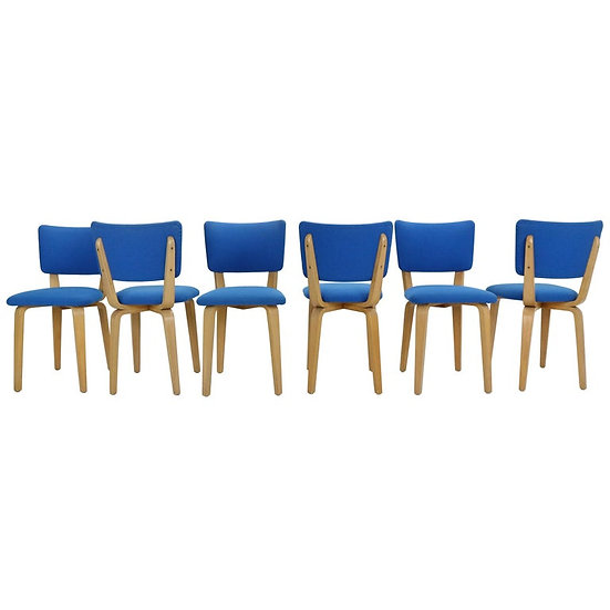 Set Of 6 Cor Alons For Gouda Den Boer Plywood Dining Chairs, Netherlands 1950