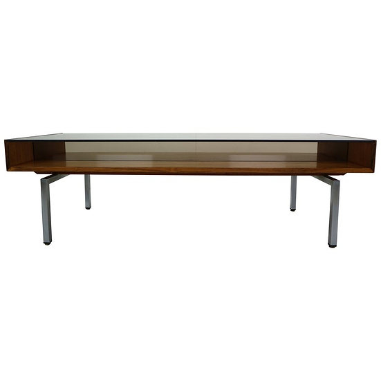 Mid-Century Modern Design Coffee Table Smoked Glass& Rosewood, 1970s