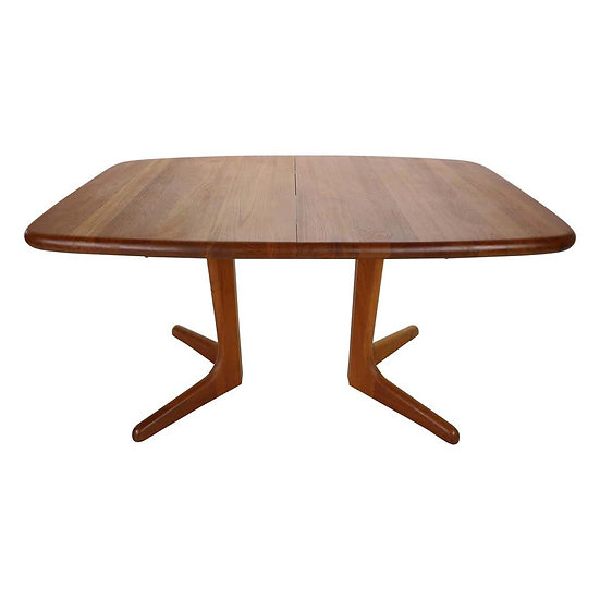 Solid Teak Oval Extendable Dinning Table by Glostrup Møbelfabrik, 1960, Denmark