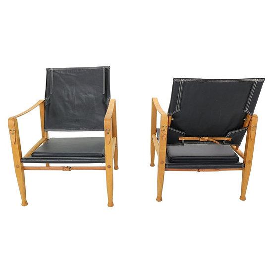 "Pair of Black Leather ""Safari"" Armchairs by Kaare Klint, Denmark"