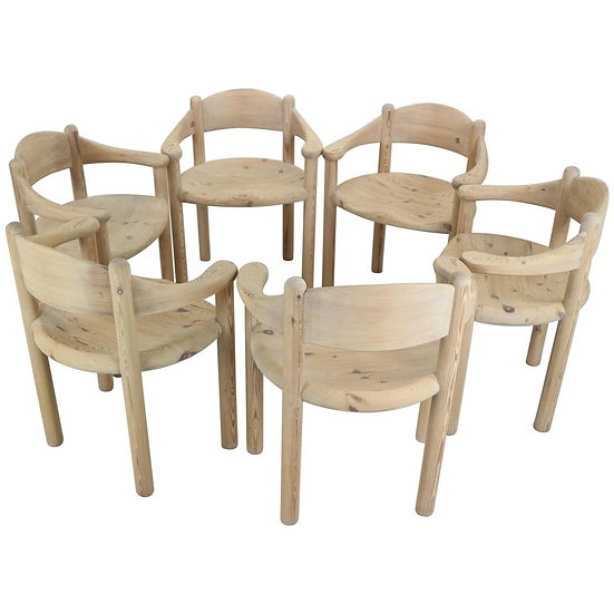 Set of Six Sculptural Dining Room Chairs by Rainer Daumiller, Denmark, 1970s