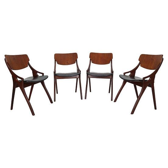 Set of 4 Arne Hovmand Olsen for Mogens Kold Dining Room Chairs, 1960s Denmark