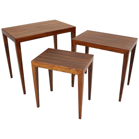 Rosewood Nesting Tables by Severin Hansen for Haslev Møbelfabrik Denmark, 1960