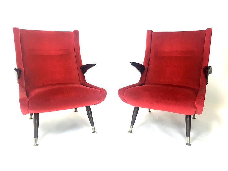 Italian Vintage Armchairs, Set of 2