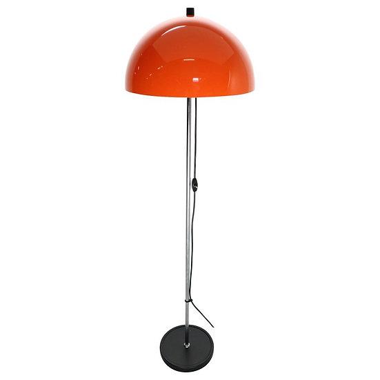 Retro Design Floor Lamp with Chrome and Orange Lampshade, 1970s