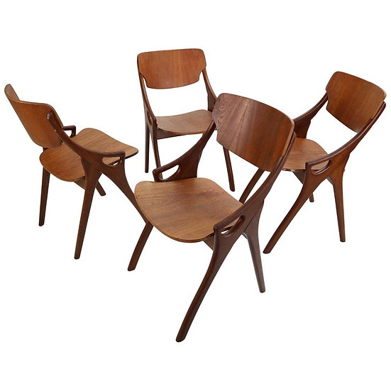 Set of 4 Arne Hovmand Olsen for Mogens Kold Teak Dining Chairs, Denmark, 1960s