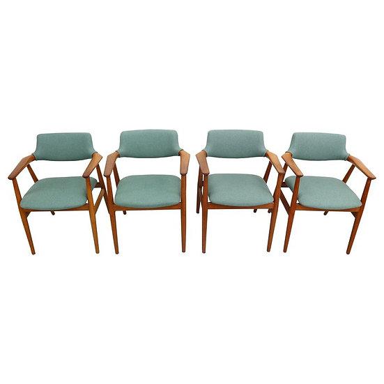 Set of Four 1960s Svend Aage Eriksen, Teak Armchairs, Danish Modern
