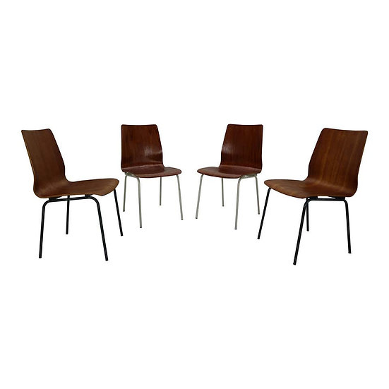"""Set of 4 Teak Dinning Room Chairs """"Euroika"""" by Friso Kramer for Auping, 1950s"""