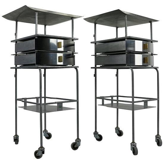 Set of 2 Industrial Stainless Steel Design Trolleys- Side Tables, 1950s