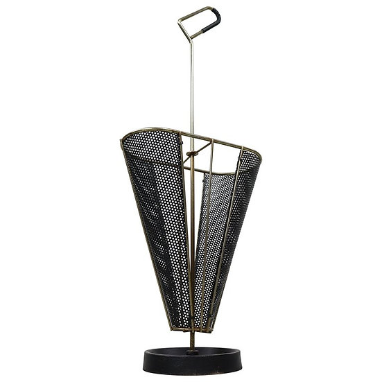 Vintage Perforated Metal Umbrella Stand, 1950s