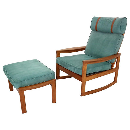 Rocking Chair & Footstool in Blue Velvet by Ole Wanscher and Komfort, 1960s