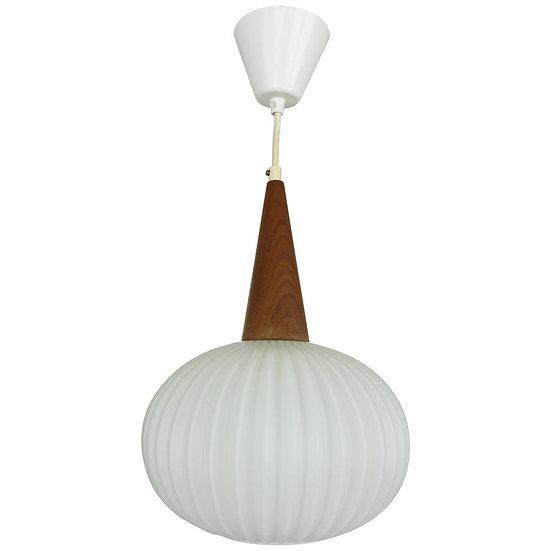 Milk Glass & Teak Wood Pendant Lamp, Louis Kalff for Philips, 1960s Netherlands