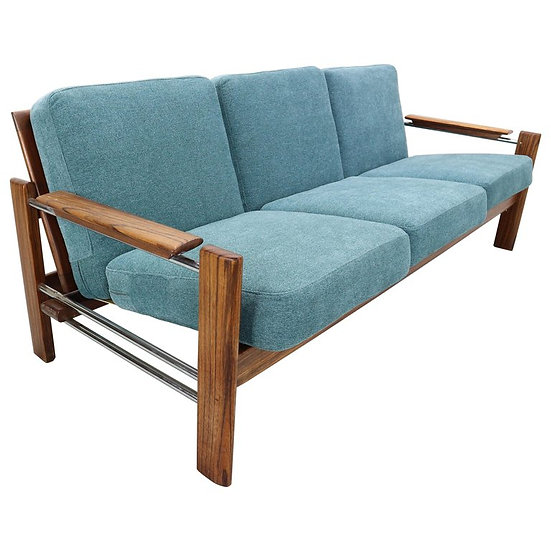 Vintage Rosewood Newly Upholstered Three-Seat Sofa, 1960s