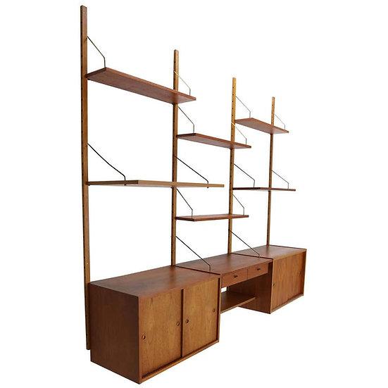 Mid-Century Modern Danish Teak and Brass Modular Wall Shelving Unit, 1960s