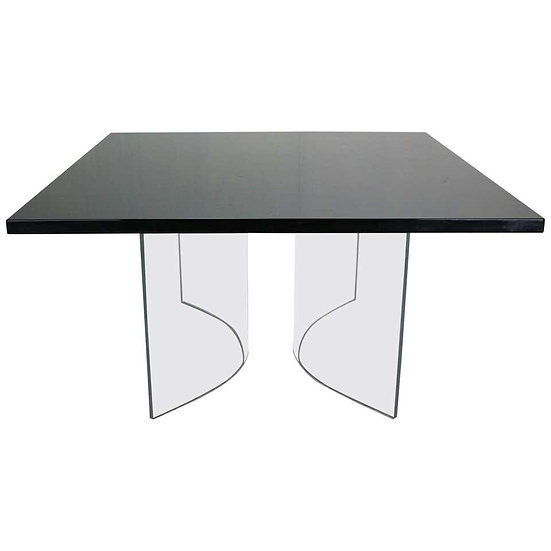"""""""Acerbis International"""" Black Square Floating Dinning Table, 1970s, Italy"""