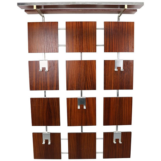 Vintage Modern Design Rosewood and Chrome Wall Mounted Coat, Hat Rack, 1960s