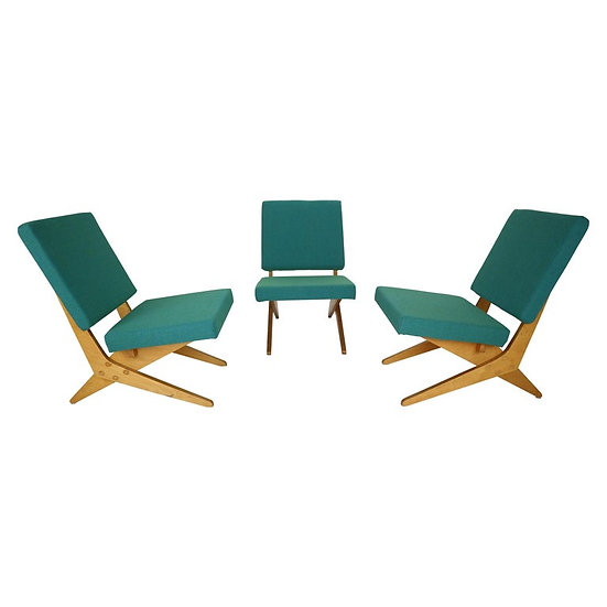 Stunning Set of 3 FB18 Scissor Chairs by Jan Van Grunsven for UMS Pastoe, 1955