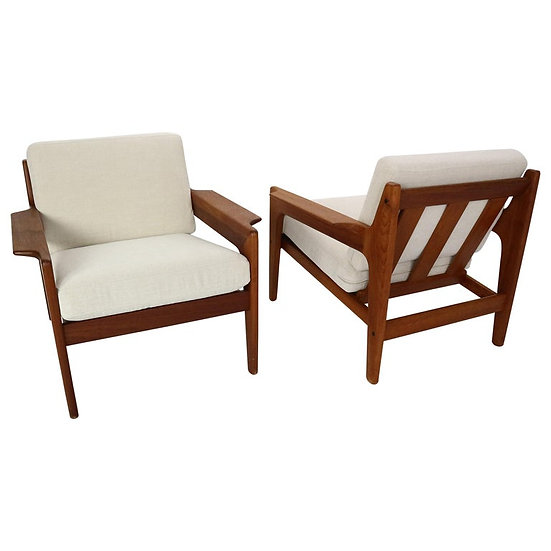 Set of 2 Teak Arne Wahl Iversen Lounge Chairs for Komfort, 1960s, Denmark