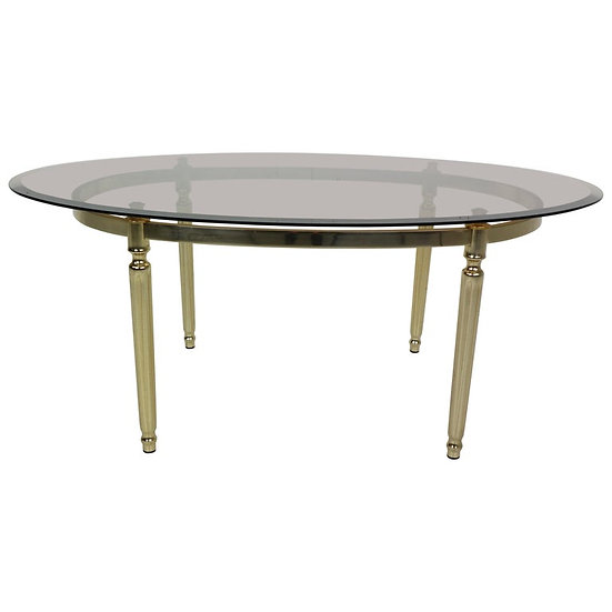 French Hollywood Regency Smoked Glass and Brass Oval Cocktail Table, 1970s