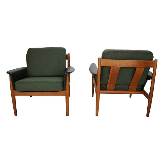 Pair of Grete Jalk Teak Lounge Chairs for France & Søn, 1960s, Denmark