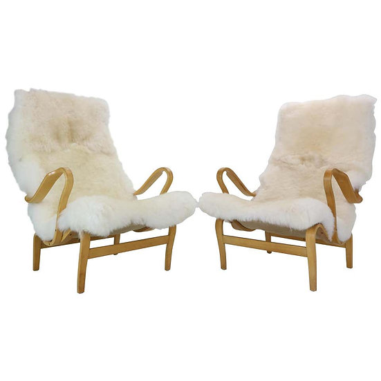 """Bruno Mathsson Set of 2 """"Pernilla"""" Lounge Chairs for DUX, 1969, Sweden"""