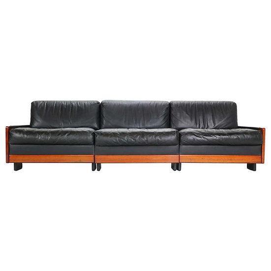 Afra & Tobia Scarpa Black Leather 3-Seat Sofa for Cassina Model-920, 1960s