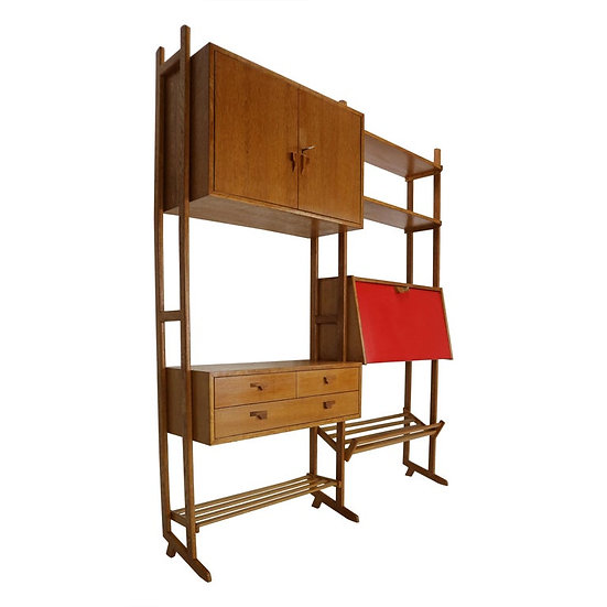 Midcentury Dutch Modern Freestanding Room Divider- Shelve Unit In Oak, 1950s